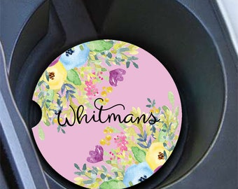 Custom monogrammed auto cup holder coasters, Pink and purple floral decoration for car Pretty accessories, vehicle Personalized gifts (1814)