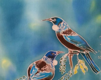 New Zealand TUI BIRDS and Kowhai Tree, HANDPAINTED Pure Silk Scarf, A pair of Tuis, feeding on Kowhai Flower Nectar,Teal, Blue & Silver
