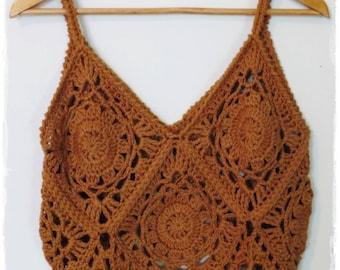 Boho Crochet Tank- Granny Square Top- Crochet Tank Top- Crochet Top- Bohemian- Hippie- Festival Top-Crop Top