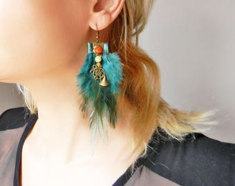 Green Turquoise Boho feather earrings Extra long feather earrings with beads and charms Oversized feather earrings Bohemian artisan earrings