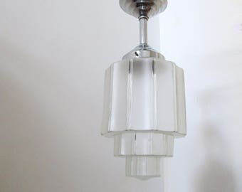 Large French Art Deco Large SKYSCRAPER Hanging Light Fixture 1930s-Rich Sculptured Deco Details-Great Condition