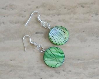 Green/Black Shell Earrings, Women's Green Earrings,  Green Dangle Earrings