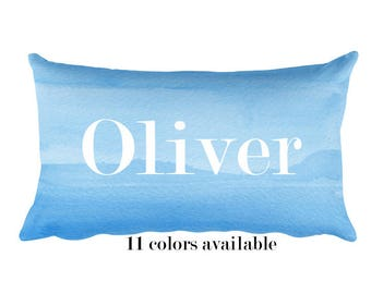 Blue Personalized Pillow for Boy, 12x20, Blue Pillow with Name, Baby Boy Gift, Name Pillow, Children's Pillow, Blue Nursery, Toddler Pillow