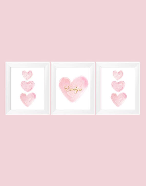 Personalized Pink and Gold Prints for Nursery, Set of 3-11x14 Prints