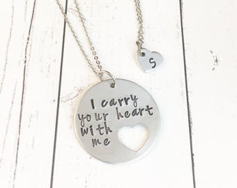 I Carry Your Heart With Me - Hand Stamped - Mommy and Me Necklace Set - Mother Daughter Necklace - Heart Necklaces - Mother Daughter Jewelry