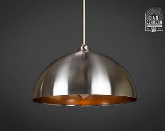 Pendant Light Fixture | Edison Bulb | Brushed Nickel | Pendant | Kitchen Light | Pendant Light | Edison Light Bulb | Copper | Dome Shade