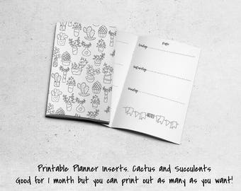 Printable Notebook Insert. Field Notes Pocket Size. Minimalist. Cactus and Succulents. Cute Booklet. Planning
