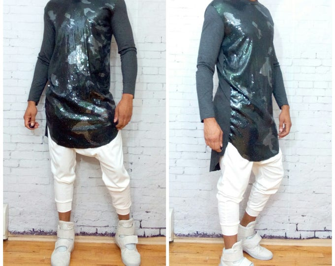 Camouflage Sequin Front T-shirt Tunic Sequins Mens Longsleeve
