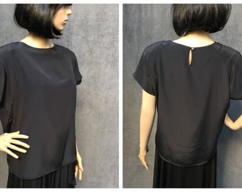 80's Impressions of California Black Silk Shirt // Size Medium