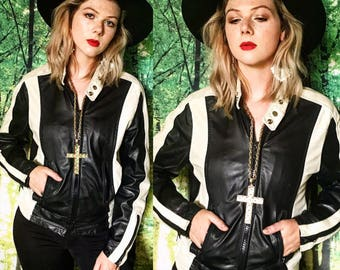 1970s Leather Two Tone Striped Racer Cafe Motorcycle Bomber Zip Jacket