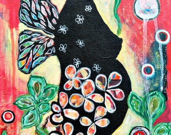 portrait of a woman, black woman, flower belly, butterfly woman, intuitive painting, original painting, hippie painting