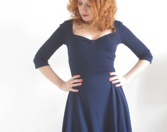 Navy blue cotton jersey dress