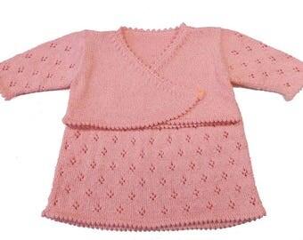 Knit baby girl dress - peach dress - dress with bolero - dress with shrug - cotton dress - summer dress - photo prop - baby shower gift