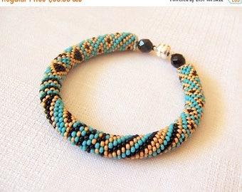 15% SALE Beaded Crochet Bracelet - Abstract Bangle - Round Chunky Bangle - Geometric Patchwork Design Bracelet - turquoise ethnic bracelet