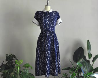 1940s dress | bonnie of belleville | vintage navy polka dot dress