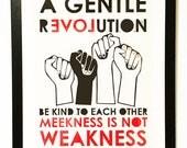 Large 'Gentle Revolution' lino print