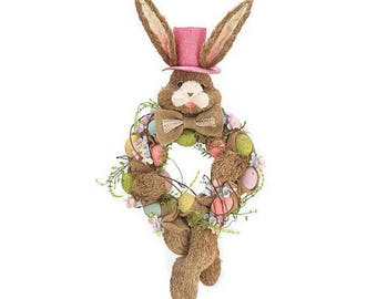 SALE 2 Left BUNNY HEAD Wreath with Sisal Body and Speckled Eggs ,Fun Floral addition this spring, Easter, door wreath, Easter Wreath