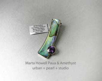 Marta Howell Pendant Paua Abalone Shell and Amethyst Pendant in Sterling Silver Long Modern Necklace