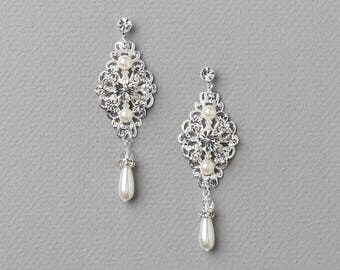 Pearl Silver Filigree Earrings, Pearl Wedding Earrings, Silver Bridal Earrings, Wedding Jewelry, Dangle Wedding Earrings, Wedding ~JE-4076