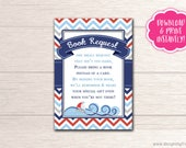 Ahoy It's A Boy! Printable Baby Shower Book Request Card, D004