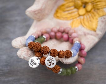 Rhodonite bracelet set with aquamarine, jade, rudraksha Mala bracelet Meditation yoga bracelet stack Lotus mala Om bracelet Wrist mala beads