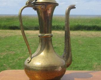 """Hammered Brass Carafe Brass Ewer Turkish Brass Pitcher Indian Brass Teapot Persian Brass Coffeepot Brass Genie 9 """" Tall"""