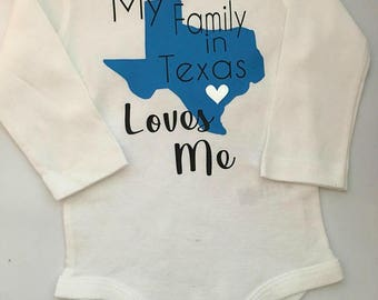 Texas baby shower etsy baby girl baby boy texas personalized texas bodysuit my family in texas negle Gallery
