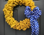 Yellow Burlap Wreath, Blue Polka Dots, Gift for Her, Fun Wreaths, Yellow Blue Wreath, Cute Wreaths, Burlap Door Wreath, Yellow Wreaths