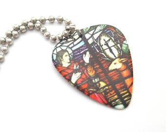 Stained Glass Design Guitar Pick Necklace with Stainless Steel Ball Chain - Cross - double sided