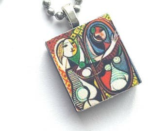 Picasso Scrabble Tile Necklace with Stainless Steel Ball Chain