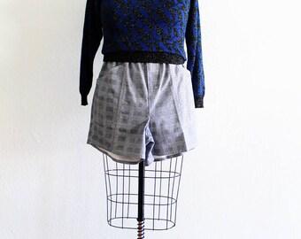Plus Size - Vintage Blue & Black Metallic Pull Over Sweater (Size 12/14)