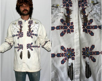 Vintage Native American Southwestern Bohemian Button Up Sweatshirt. 80s or 90s Hippie Native American Cardigan Sweatshirt