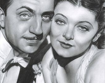 Drawing Print of William Powell and Myrna Loy