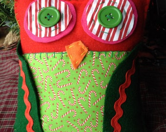 Happy Holidays Owl Stuffed Toy Pillow Handmade Fabric Felt Holiday Christmas