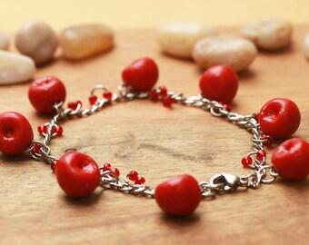 Beautiful Cherry Bracelet - Fruit Jewelry - Fruit Bracelet - Miniature Food Jewelry
