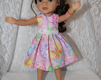 Back to School! Sparkly Butterfly Dress and Lace/ Shoes Included. Handmade to fit the wellie wisher and Heart to Heart doll Free Shipping