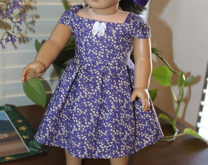 Ready for a Party, Purple,White Print ,Dress , Matching Shoes made to fit the AG and other 18 inch dolls FREE SHIPPING