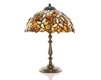"""Table lamp - 10"""" lampshade made of stained glass and amber. Stained glass lamp. Tiffany table lamp. Bedside lamp."""