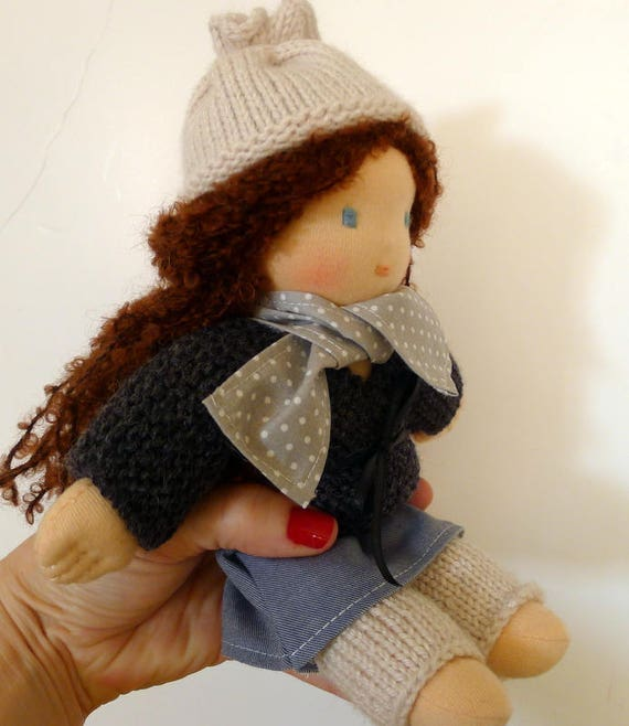 Little Waldorf doll - 25 cm - organic cotton - hand made - made in France