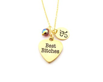Best Bitches Necklace - Best Friends Charm - Swarovski Birthstone - Custom Initial - Personalized Gold Necklace / Gift for Her