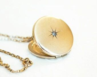 Antique round locket necklace, gold filled locket, rhinestone paste locket, early 1900s locket, Victorian locket, Edwardian locket, Atrice