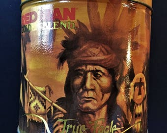 Red Man Golden Blend Chewing Tobacco Vintage Round Metal Container, Limited Edition 1988 depicting 4 American ndian Chiefs