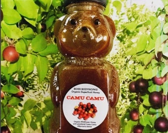 Organic CAMU CAMU Berry Superfruit Honey - 12oz - herbal infused raw wildflower non-GMO Myrciaria dubia
