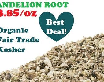 Organic DANDELION ROOT - 1 oz - Taraxacum officinale dried cut herb, fair trade, kosher, non-GMO