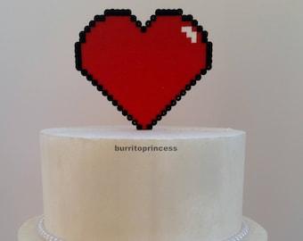 Wedding Cake Topper - 8 Bit Heart Wedding Cake Topper - Pixel Heart Wedding Cake Topper - Video Game Wedding Cake Topper