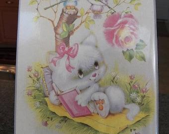 Vintage 70's KITTY CAT~Jumbo Photo Album Picture Gallery holds 72 Photo's 3x5