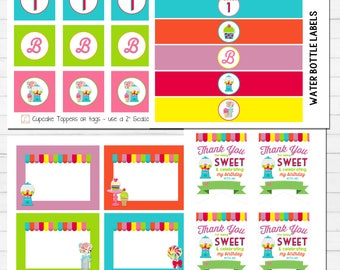 Sweet Candy Party Printables | Candy Birthday Printables | Ice Cream Shoppe