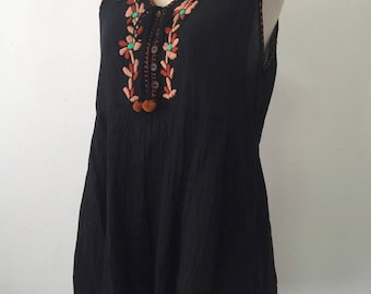SALE-Hand Embroidered Cotton Sleeveless Top In Black