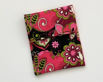 Floral Button Pouch, Pink Button Pouch, Small Pouch, Accessory Bag, Button Pouch, Bag Organizer, Cell Phone Case, Camera Case
