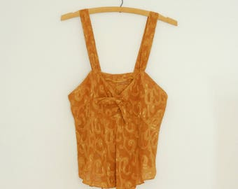 Yellow Swirl Burn-Out Camisole - Late 1980s